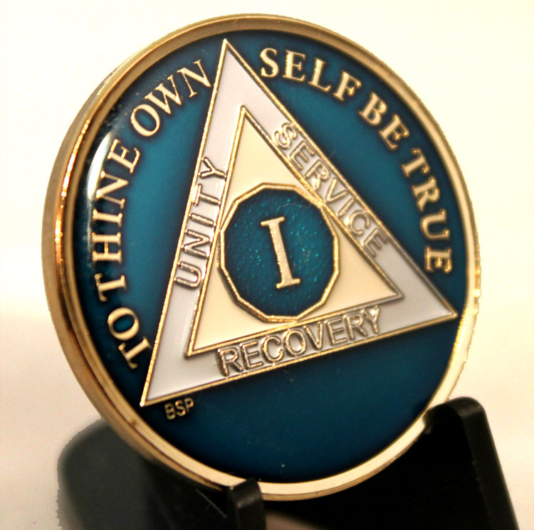 Mens Blue AA Sobriety Coins