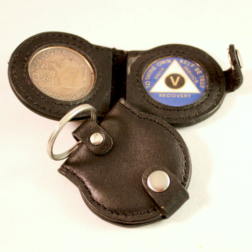 double leather AA key tag