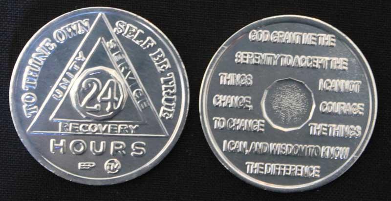 Sliver Sobriety Coin - 24hr