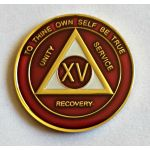 Burgundy, Silver & Bronze Trim AA Medallion