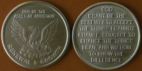 "Bronze ""Out of the Ashes of Addiction - RENEWAL & GROWTH"" Sobriety Affirmation Coin"