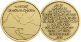"Sunrise ""Never Alone Again"" AA Affirmation Medallion"