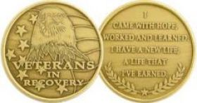 Veterans In Recovery Affirmation Medallion with Eagle and Flag