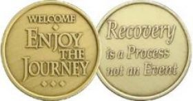"Bronze ""Welcome- Enjoy the Journey"" Sobriety Affirmation Coin"