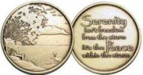 """Serenity isn't the freedom from the storm"" AA Affirmation Medallion"