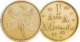 "Bronze AA ""I am a miracle"" Affirmation Chip"