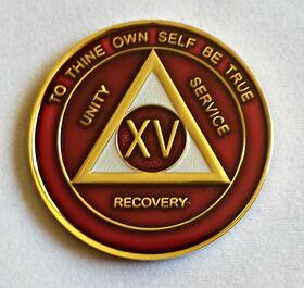 Burgundy, Silver & Bronze Trim AA Medallion