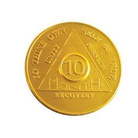 Ten Month Yellow Aluminum Anniversary Token