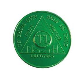 Eleventh Month Green Aluminum Anniversary Token
