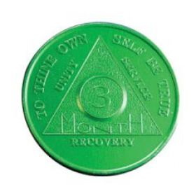 Three Month AA Anniversary Chip in Green
