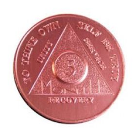 Five Month Red Aluminum Anniversary Token