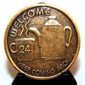 Coffee Pot - Welcome AA Bronze Medallion