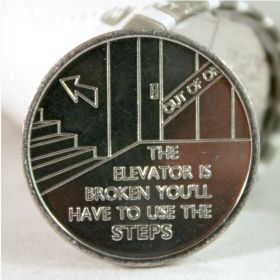 """The Elevator is Broken"" Aluminum Desire Chip"