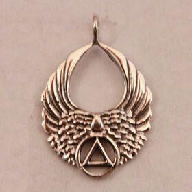 "1"" Long Angel Wings Sterling Silver Unity Pendant"