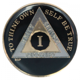Black, Silver & Gold AA Medallion