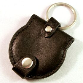 Key Tag Double Coin Holder Black Leather