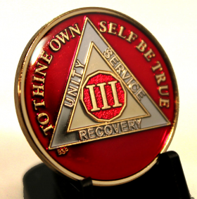 AA  Red Silver & Gold AA Medallion
