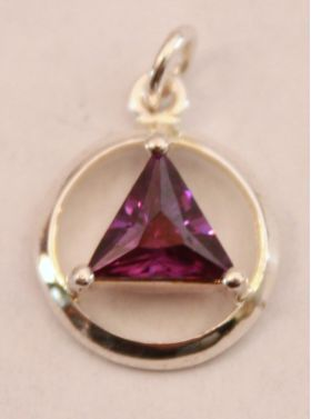 "1/2"" Sterling Silver AA Unity Pendant with Synthetic Amethyst Stone"